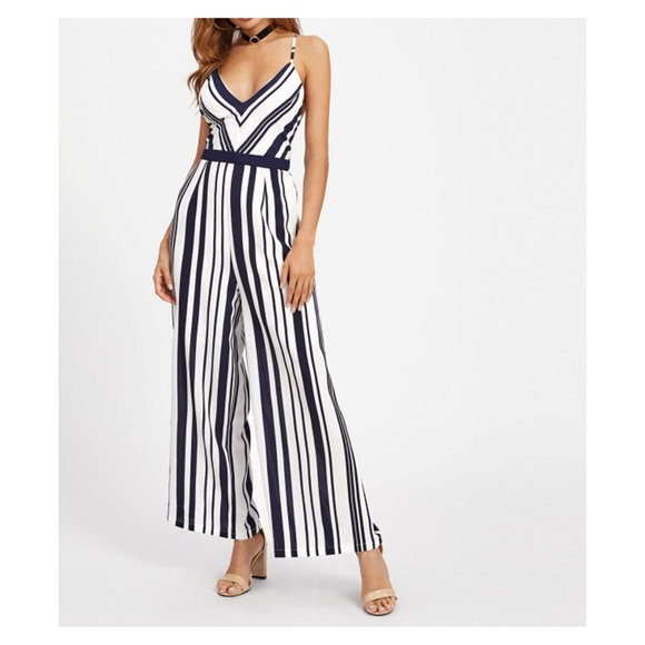 15f0553aa4d4 White Blue Striped Backless Wide Leg Jumpsuit